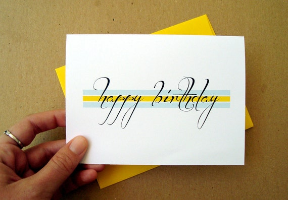 happy birthday card elegant script yellow and mint color block birthday card letterhappy etsy