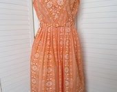 Dress Orange and White, Sleeveless by Dixie Lou Frock - Size M