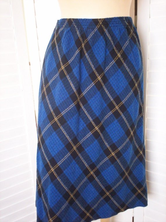 skirt royal blue plaid size s m by pastfindz on etsy