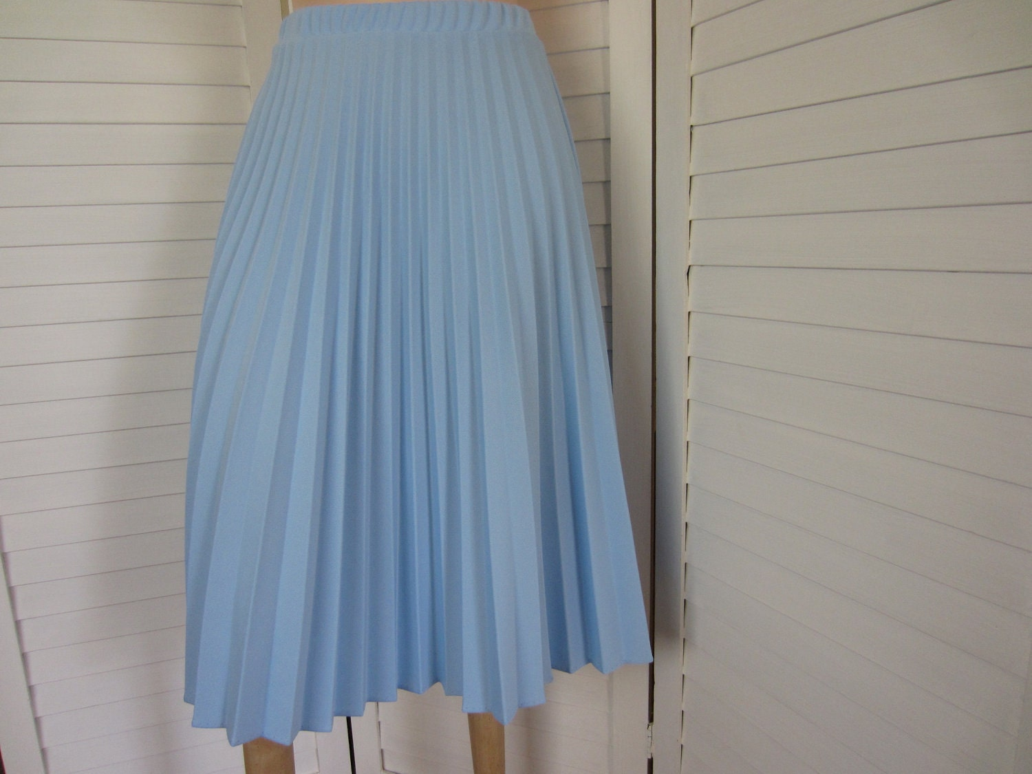 Pleated Skirt Light Blue Knit Size S