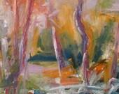 December Morning GICLEE ART PRINT 8 x 11 abstract landscape Atlanta pink orange white snow