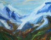 Mt. Tantalus Large ABSTRACT PAINTING 30 x 40 ORIGINAL mountains Canada