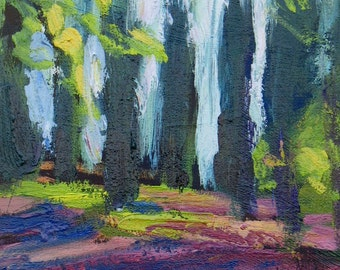 Montecastello Park GICLEE ART PRINT Umbria Italy trees green rag paper