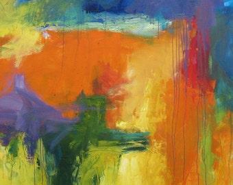 Homage du Chien GICLEE ART PRINT 11 x 17 orange blue purple abstract