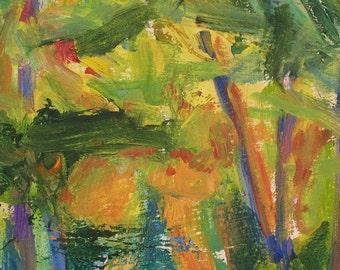 Nine Trees GICLEE ART Print 11 x 17 Abstract landscape woods autumn yellow green orange