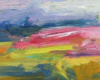 Pink Field GICLEE ART PRINT 8 x 11 abstract landscape pink green field