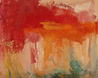 Intermezzo I and II  GICLEE ART Print Duo 8 x 11 abstract coral peach orange aqua one shipping price