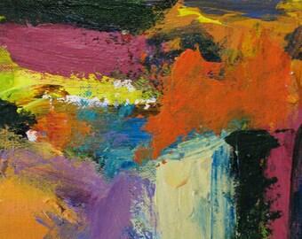 Horizon Painting ORIGINAL Abstract 7 x 7 landscape orange aqua lavender