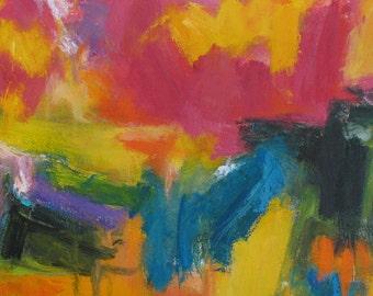 High Density GICLEE ART PRINT 11 x 17 Abstract orange pink yellow aqua