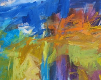 Spring Route 90 GICLEE ART PRINT 11 x 17 abstract landscape blue orange