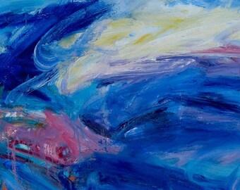 Moon and Wind GICLEE ART PRINT 11 x 17 blue abstract night scene