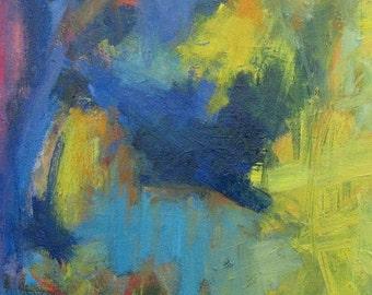 Medi 1 GICLEE ART PRINT 11 x 17 abstract blue yellow aqua