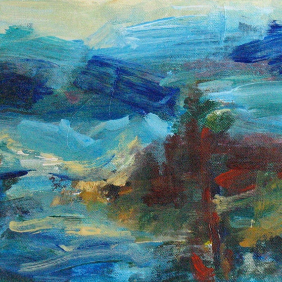 View from Mt. Galiano ABSTRACT PAINTING 6 x 11 ORIGINAL landscape Canada ocean sea mountains
