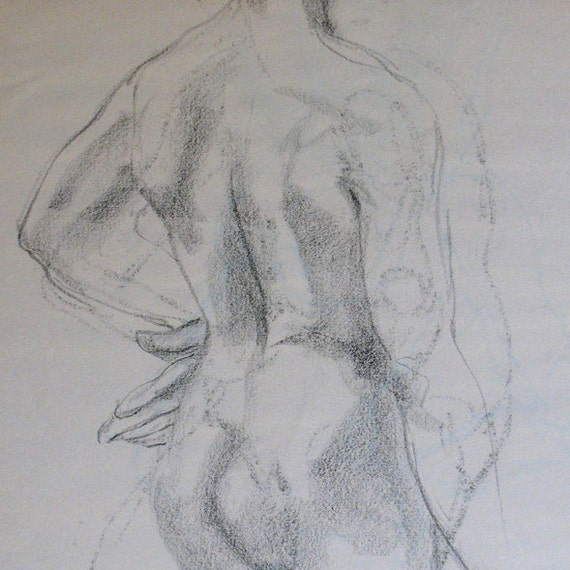 Male with Arm on Hip ORIGINAL CHARCOAL DRAWING 18 x 24 gestural male nude torso