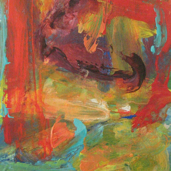 Red Landscape GICLEE ART PRINT 8 x 11 abstract landscape red aqua yellow