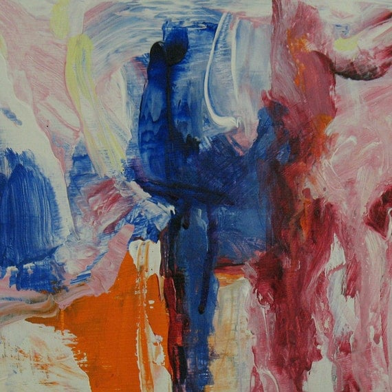 Fields of Memory ABSTRACT Painting 9 x 12 ORIGINAL pale blue, cobalt, pink, orange, white