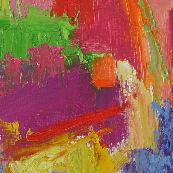 Orange Square ORIGINAL Abstract Painting 8 x 8 orange pink magenta red acid green