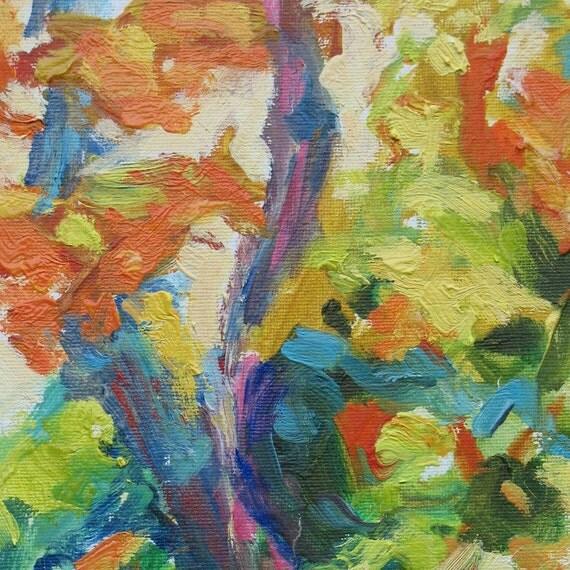 October GICLEE ART PRINT 8 x 11 trees autumn orange golds aqua