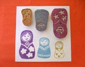 Matryoshka Dolls Hand Carved Rubber Stamps