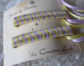 retro 1970's woven ribbon barrettes NEVER USED
