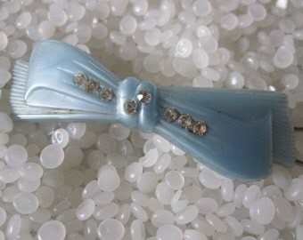 vintage  hair barrette blue bow with rhinestones
