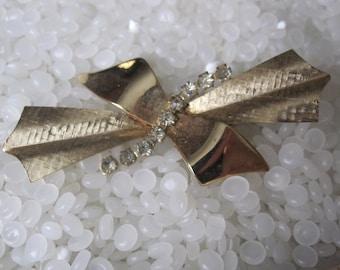 vintage barrette beautiful rhinestones etched bows