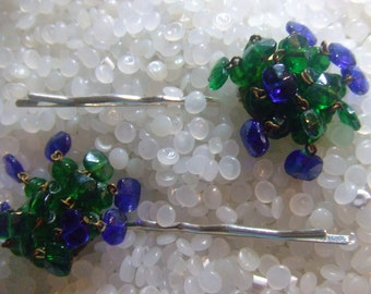 Blue and green vintage bobby pins