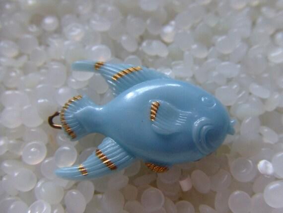 vintage barrette,blue fish