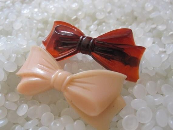 Vintage barrette, sweet  bows pink and brown