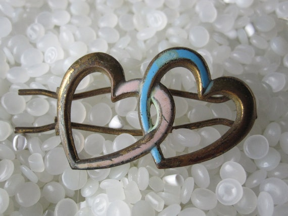 vintage barrette brass hearts