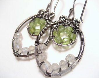 Peridot and Moonstone Oxidised Sterling Silver Earrings