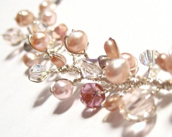 Pearl Crystal Wedding Necklace Sterling Silver Necklace 17 inch chain