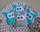 Set of 4 Sew Sweet Mini Minky Owls in Turquoise