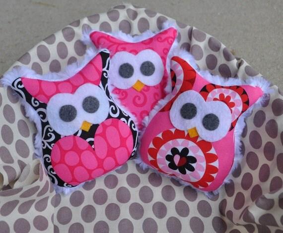 Set of 3 Sew Sweet Mini Minky Owl Ornaments in Pink