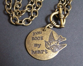 You Rock My Heart Necklace  - Love - Valentines Day - Sweetest Day - Toggle - Brass - Broze
