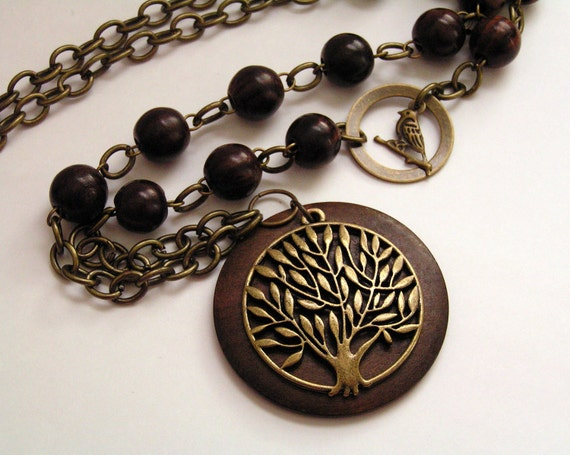 Tree of Life - Wood - Brass - Bronze - Necklace - Bird - Tree