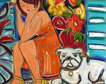 French Quarter, Giclee Reproduction,woman, bulldog, new orleans
