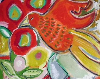 Red Bird 7x7 Giclee Reproduction