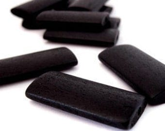 Black Wood Beads x 10 Extra Large Rectangle Shape.  Contact us if you would like other quantities.