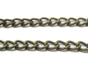 Bronze Chain Antique Tone Large Twisted Oval Link - 100cm - Contact us for other quantities..