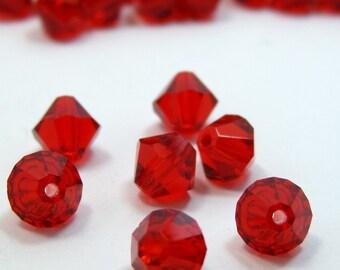 Red Czech Glass Beads x 10.  6mm Diameter