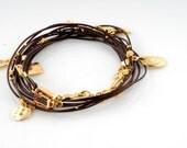 Chocolate Brown Charm Leather Bracelet With Golden Shadow Swarovski Octagon Crystal