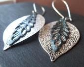 Dangle Earrings Bohemian Earrings Fall Leaf  Earrings  Silver and Verdigris Patina Leaves Earrings Rustic Earrings Bohemian Jewelry