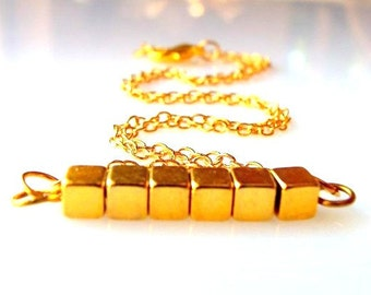 Gold Necklace Simple Necklace Trending  Necklace Cube Layering Necklace Delicate Jewelry  Minimalist  Jewelry Geometric Jewelry Gift For Her