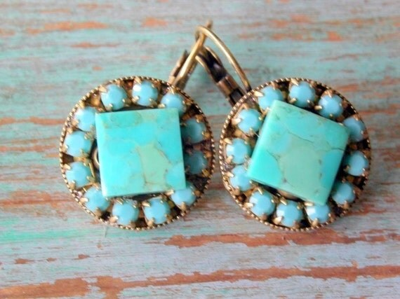 Square Turquoise Round  Brass Earrings with Swarovski  Crystals