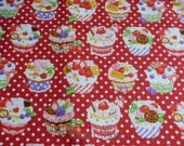 SALE - Sweets Cup Cake Polka dots on Red - Half Yard (12i0603)