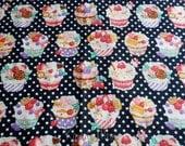 SALE - Sweets Cup Cake Polka dots on Black - Half Yard (12i0603)