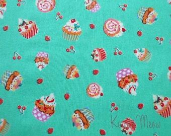 "SALE - Sweets Cupcake Green - Scrap 108cm/42.5""W x 80cm/31.5""L (ya0901)"