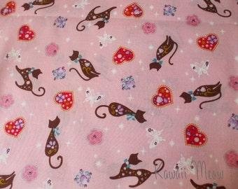 SALE - KOKKA Heart Lame Cats Pink - Fat Quarter (ko1101)