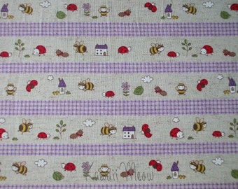 SALE - Cotton Linen Bee Ladybug Border Print Purple - Half Yard (ko1215)
